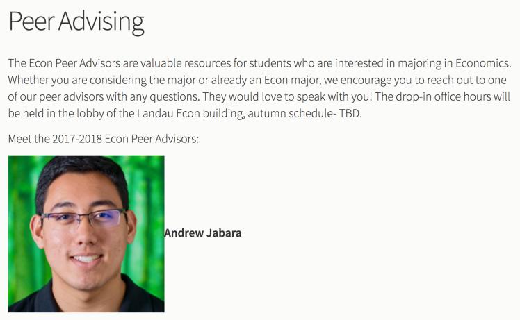 Andrew Jabara peer advisor